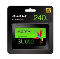 "DYSK SSD ADATA ULTIMATE SU650 240GB 2,5"" SATA3 (520/450 MB/S) 7MM, 3D NAND / BLACK RETAIL (ASU650SS-240GT-R)"