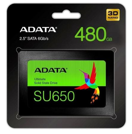 "DYSK SSD ADATA ULTIMATE SU650 480GB 2,5"" SATA3 (520/450 MB/S) 7MM, 3D NAND / BLACK RETAIL (ASU650SS-480GT-R)"