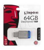 KINGSTON FLASHDRIVE DATATRAVELER 50 64GB USB 3.0 SREBRNY (DT50/64GB)